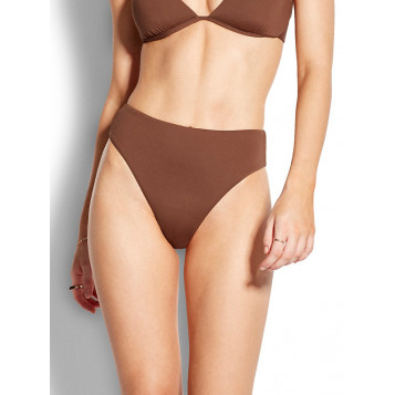 Active High Waisted Wide Side Pant : Chocolate