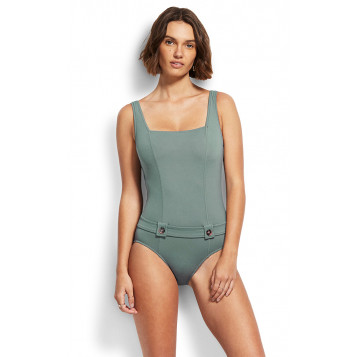 Active DD Tank Maillot W/ Buttons : Olive Leaf