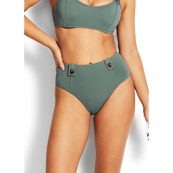 Active High Waisted Pant W/ Buttons : Olive Leaf