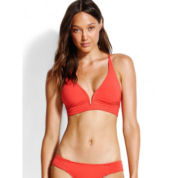 Seafolly Quilted Longline Tri : Chilli