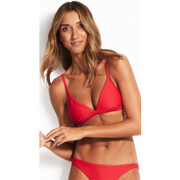 Essentials Fixed Tri Bra : Chilli