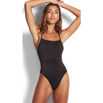 Stardust Square Neck Maillot : Black