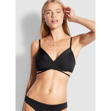 Seafolly Quilted Wrap Front Booster : Black