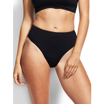 Active High Waisted Wide Side Pant : Black