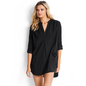 Boyfriend Beach Shirt : Black