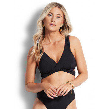 Active Wrap Front Tri Bra : Black