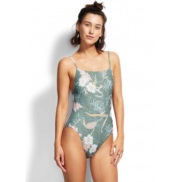 Balinese Retreat Square Neck Maillot : Olive Leaf