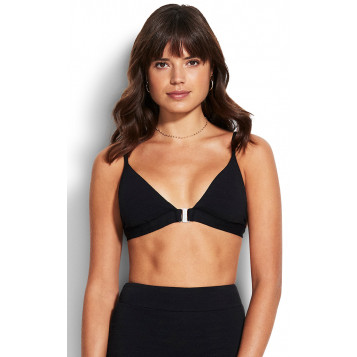 Seaside Soiree Fixed Tri Bra : Black