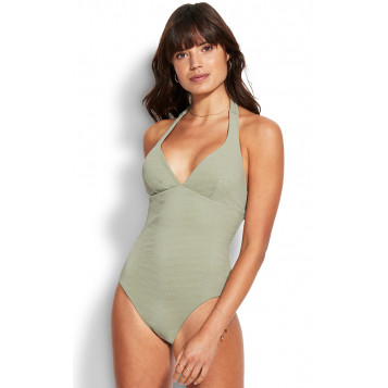 Seaside Soiree Halter Maillot : Thyme